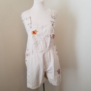 Disney Pooh Bear Light Tan Embroidered Overalls